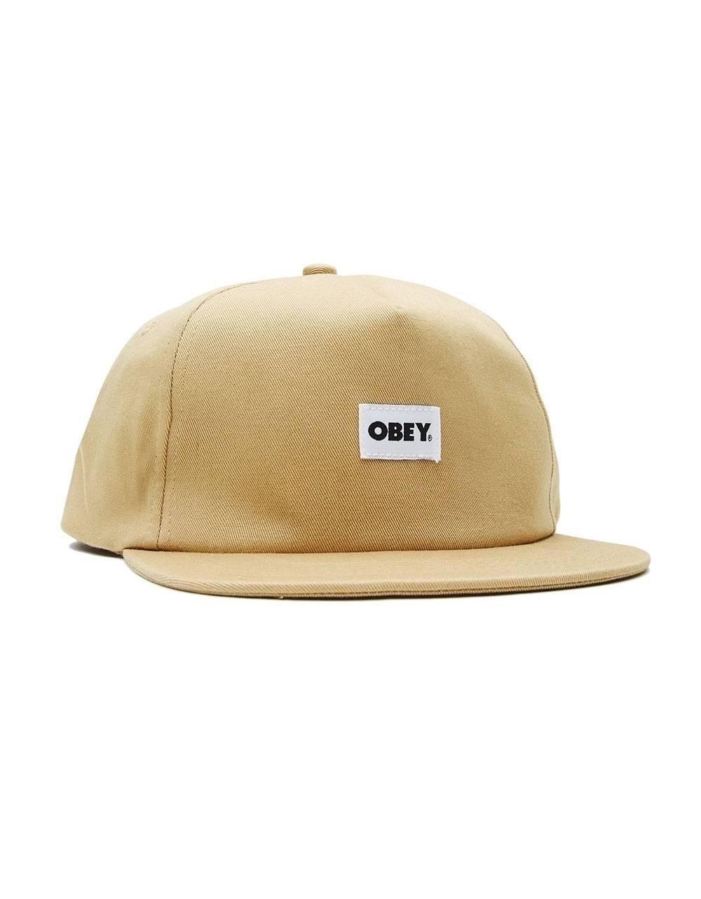 Obey bold label 6 panel strapback hat - almond obey Hat 45,00€