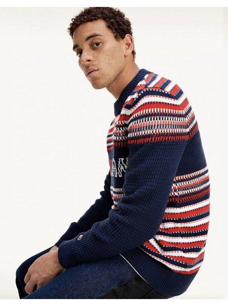 Tommy Jeans Structure mix knit sweater - navy/multi Tommy Jeans Knitwear 132,00€