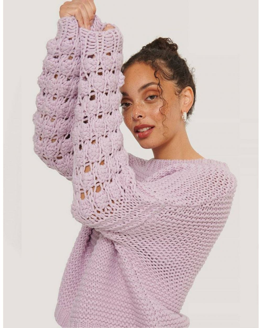 NA-KD bubble sleeve knitted sweater - lilac NA-KD Knitwear 66,00€