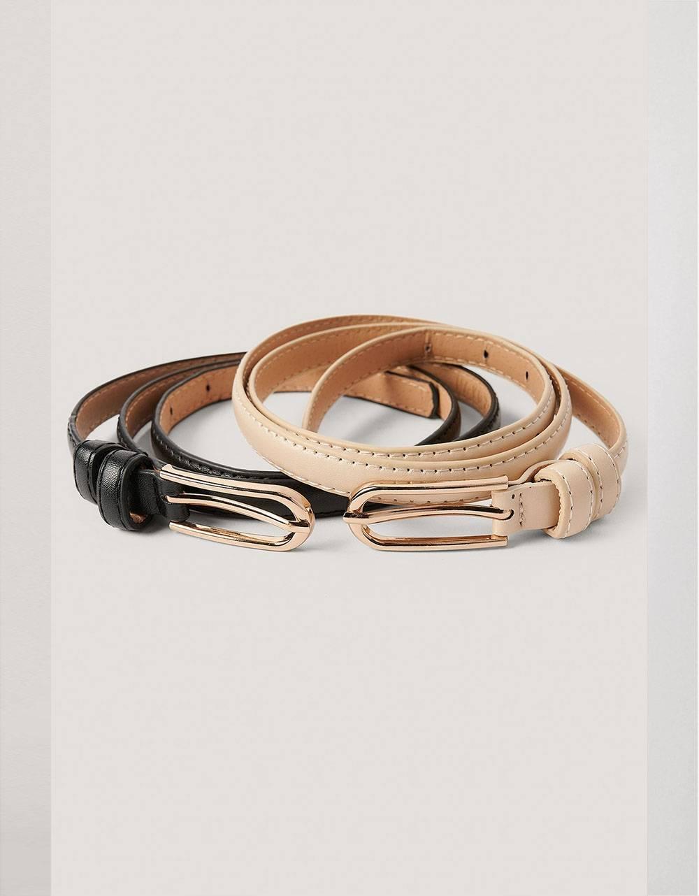NA-KD double pack oval buckle belt - black/beige NA-KD ACCESSORIES 22,13€