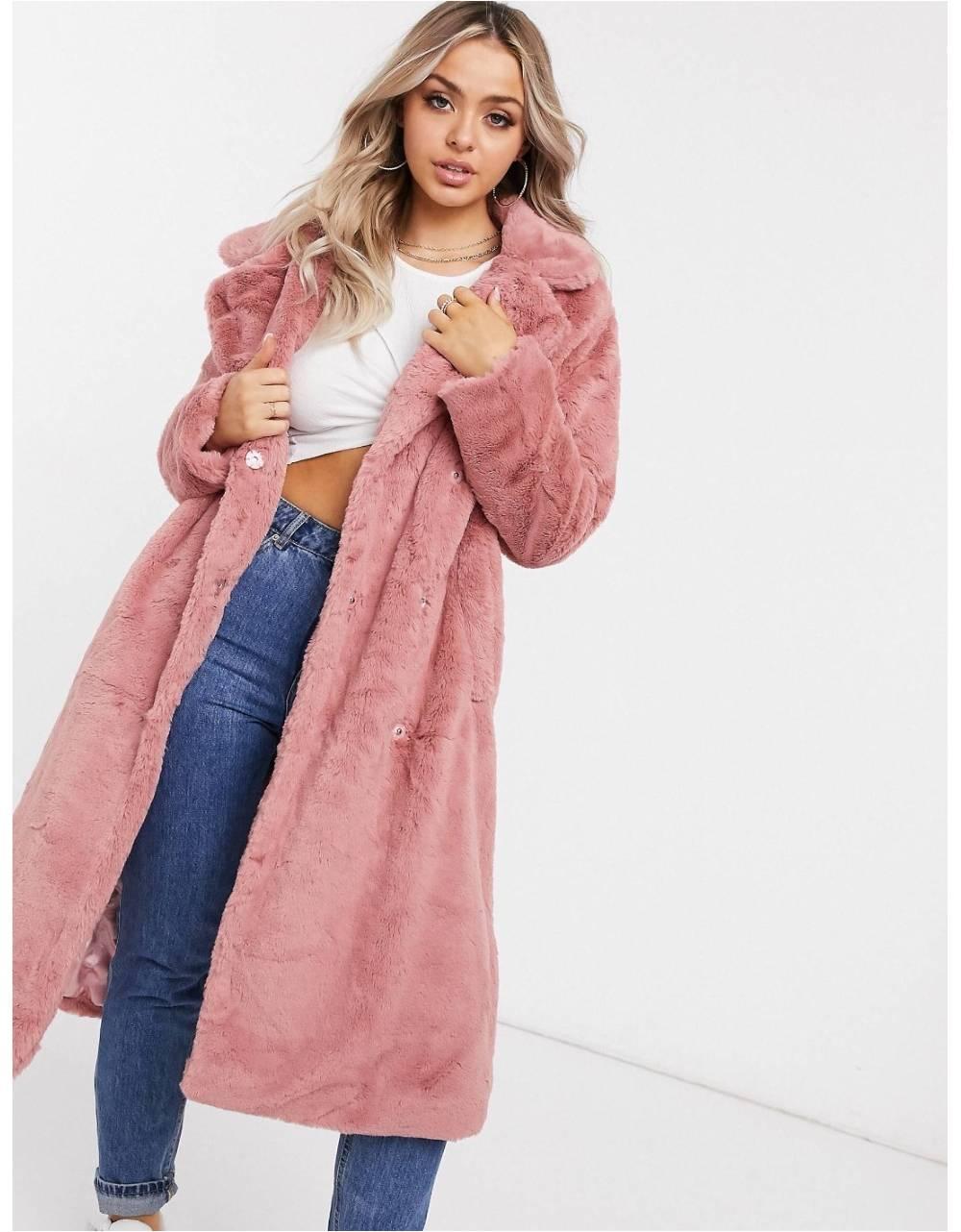 NA-KD faux fur coat - dusty rose NA-KD Coat 140,00€