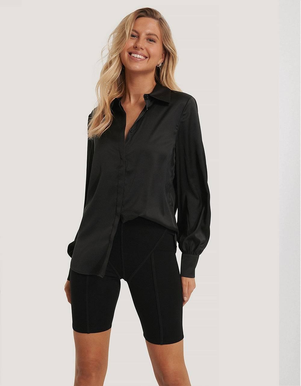 NA-KD hidden button shirt - black NA-KD Shirt 65,00€