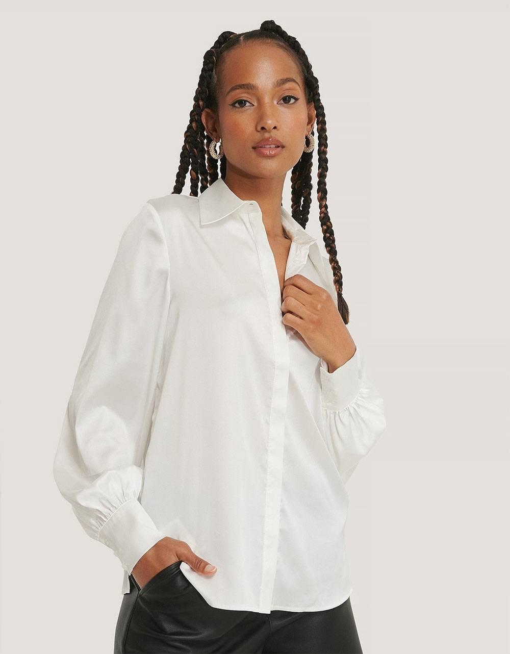 NA-KD hidden button shirt - off white NA-KD Shirt 53,28€