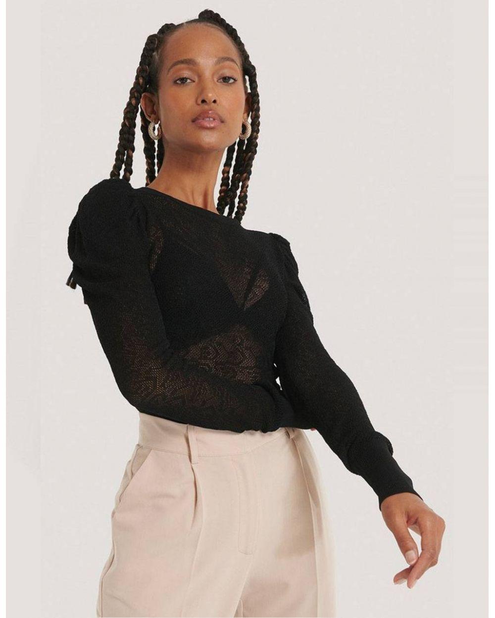 NA-KD structure knit puff sleeve sweater - black NA-KD Sweater 49,00€