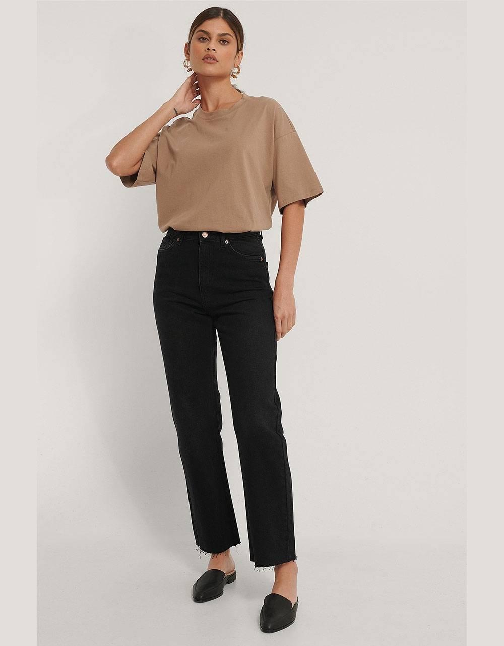 NA-KD organic straight high waist raw hem jeans - washed black NA-KD Jeans 69,00€
