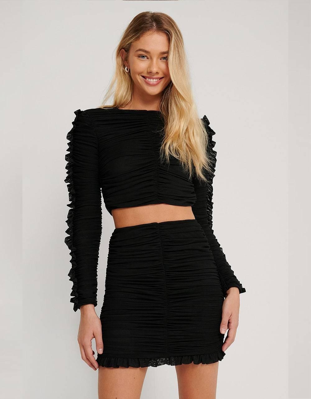 NA-KD frill detail gathered skirt - black NA-KD Skirt 52,00€
