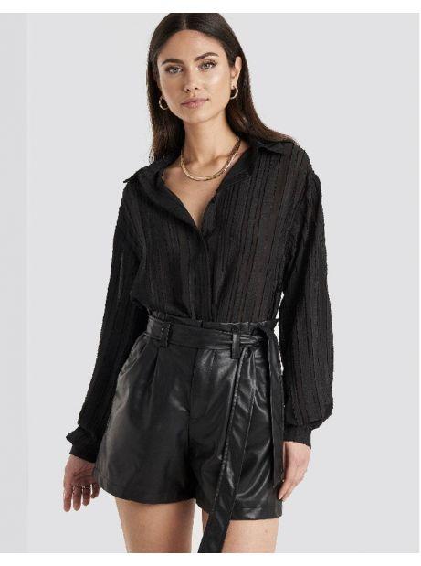 NA-KD faux leather paperbag shorts - black NA-KD Shorts 62,00€