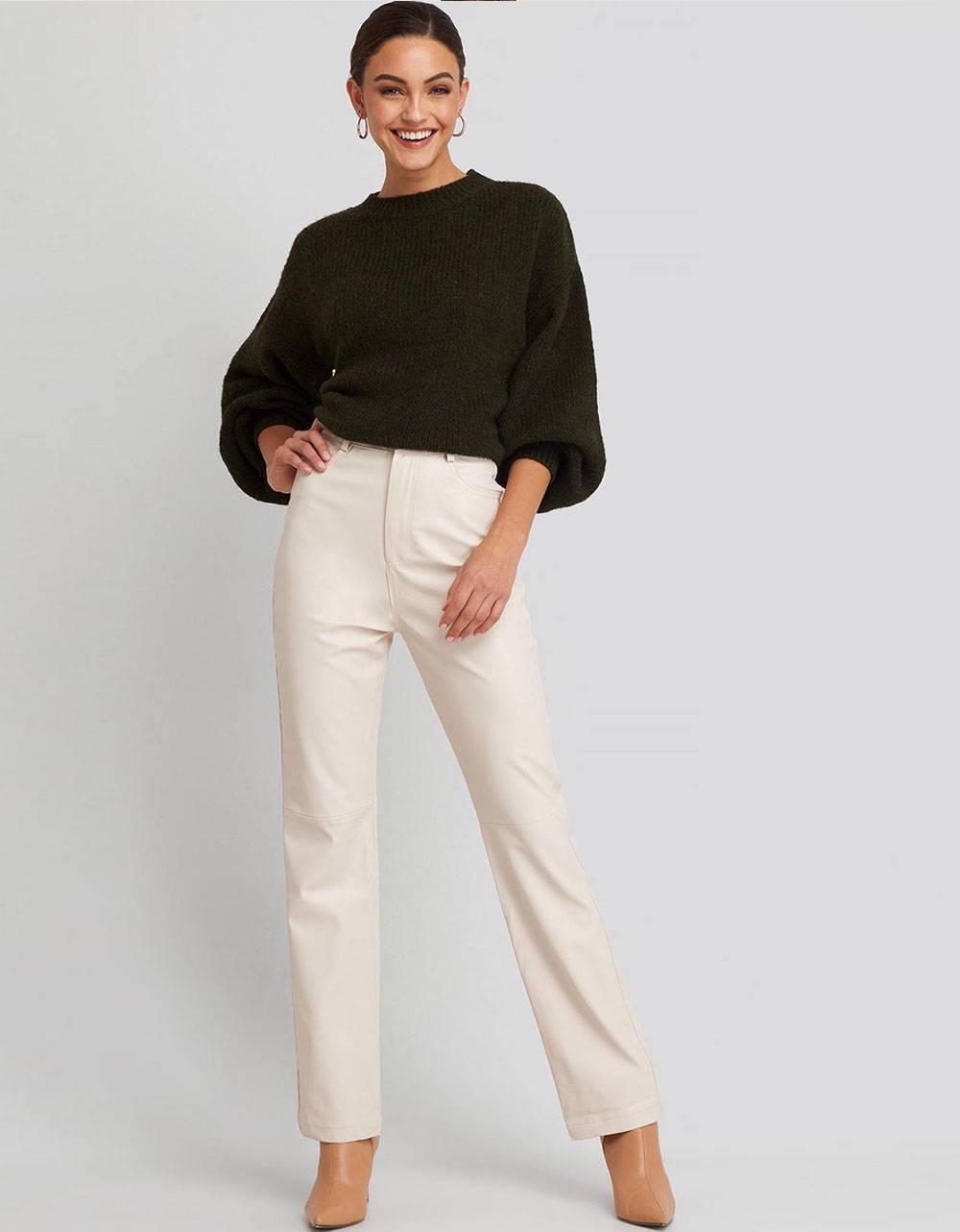NA-KD straight leg faux leather pants - beige NA-KD Pants 75,00€