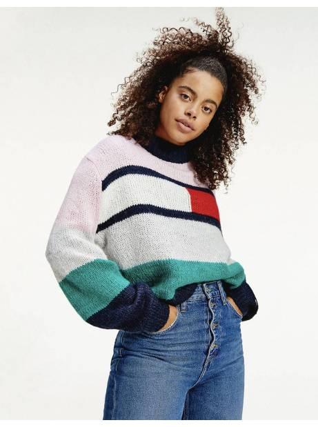 Tommy Jeans woman's Bell sleeve flag knitwear - Romantic pink/multi Tommy Jeans Knitwear 115,00€