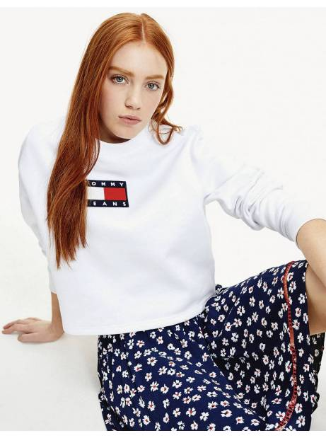 Tommy Jeans woman's Flag crewneck sweater - White Tommy Jeans Sweater 135,00€