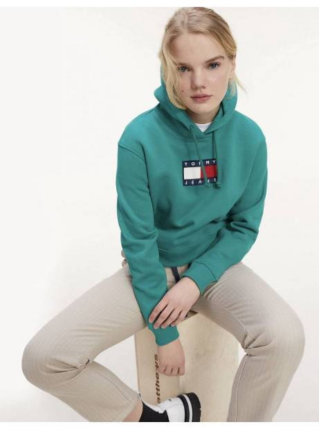 Tommy Jeans woman's Flag Hoodie - Midwest green Tommy Jeans Sweater 145,00€