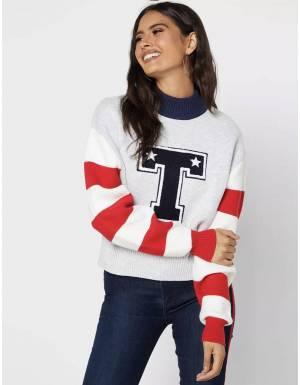 Tommy Jeans woman's Varsity knit sweater - silver grey heather Tommy Jeans Knitwear 139,00€