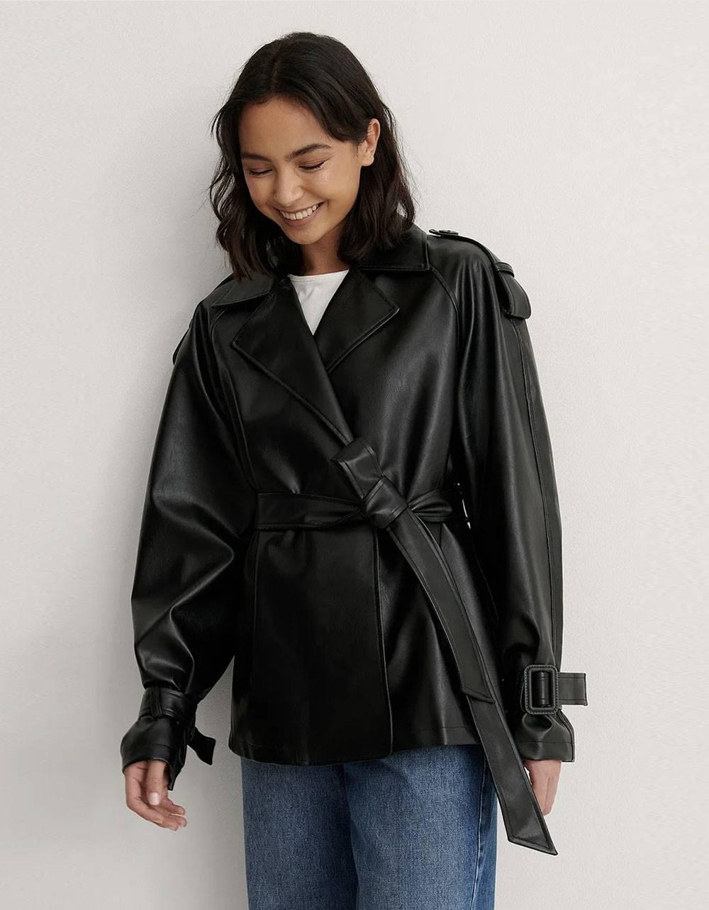 NA-KD belted pu jacket - black NA-KD Jacket 95,00€