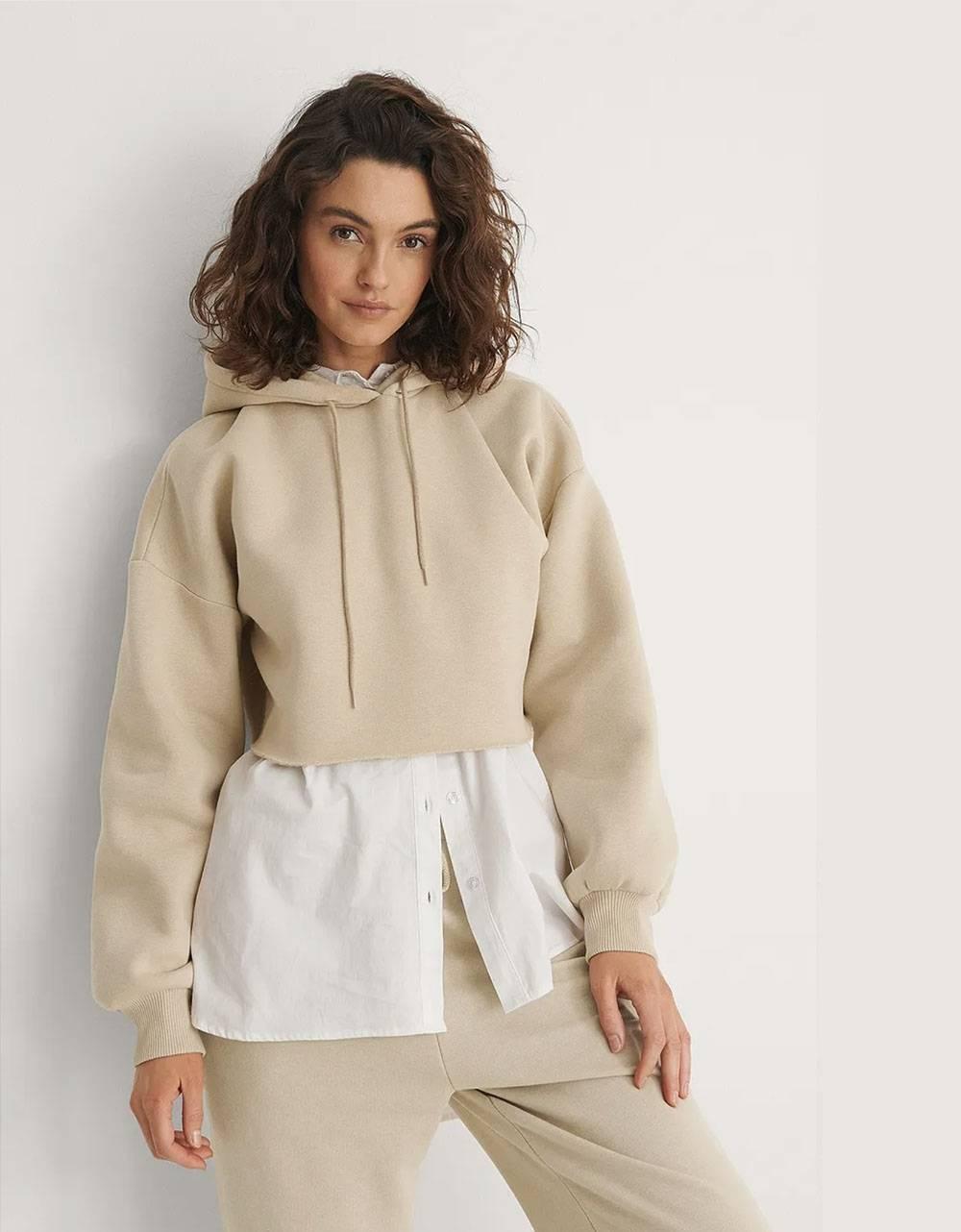 NA-KD organic raw edge hoodie - beige NA-KD Sweater 42,00€