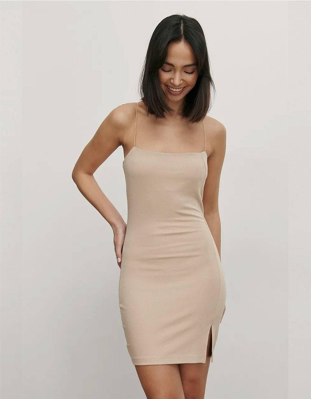 NA-KD tie shoulders mini dress - beige NA-KD Dress 40,98€