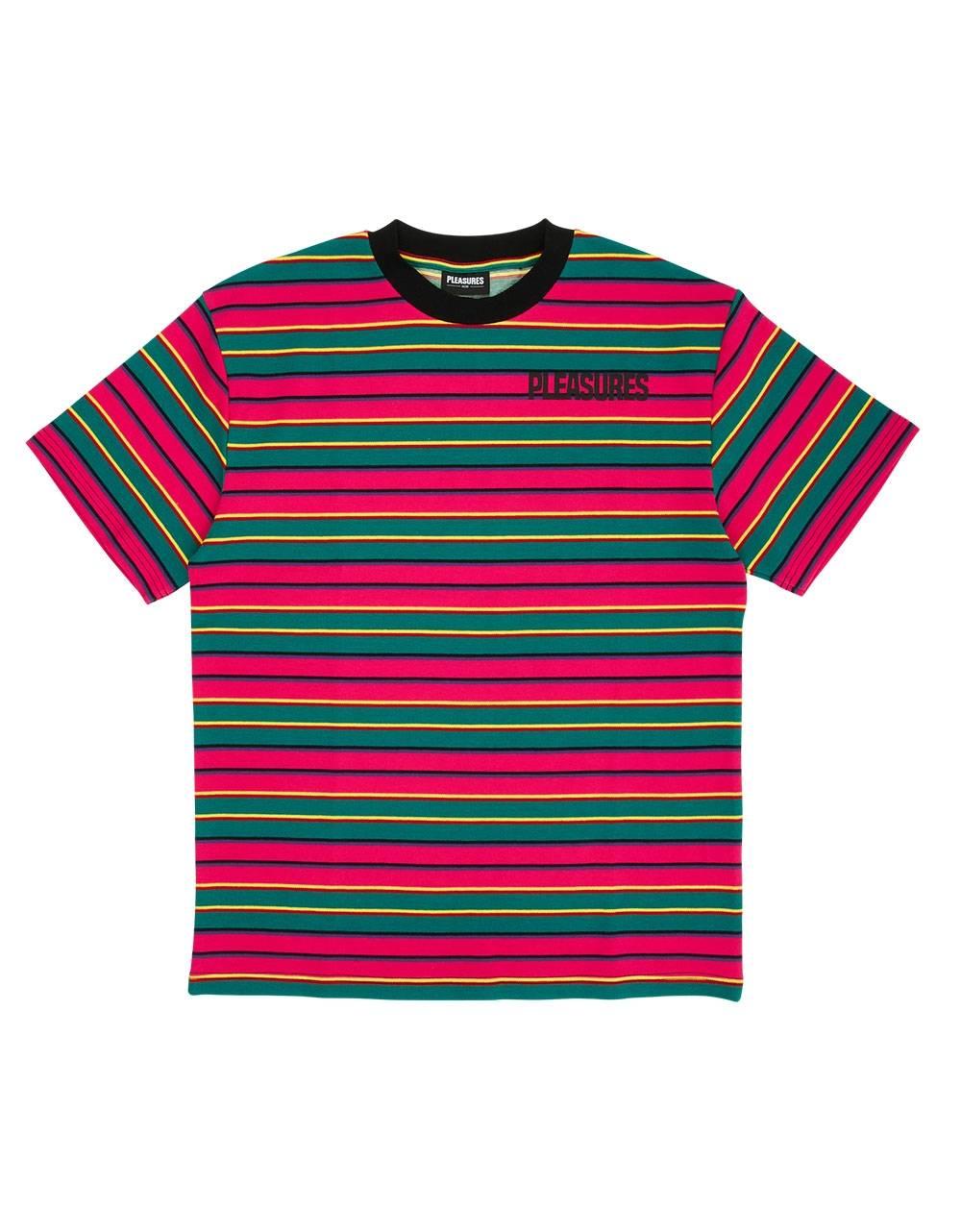 Pleasures Outlier stripe t-shirt - pink Pleasures T-shirt 70,00€