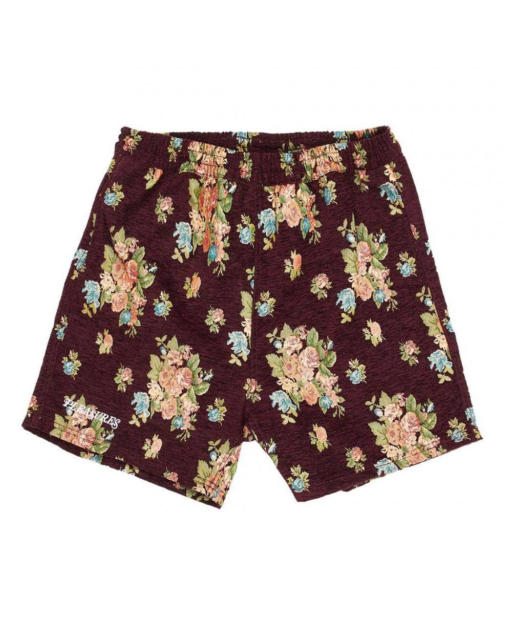 Pleasures Dejavu woven floral shorts - maroon Pleasures Shorts 99,00€