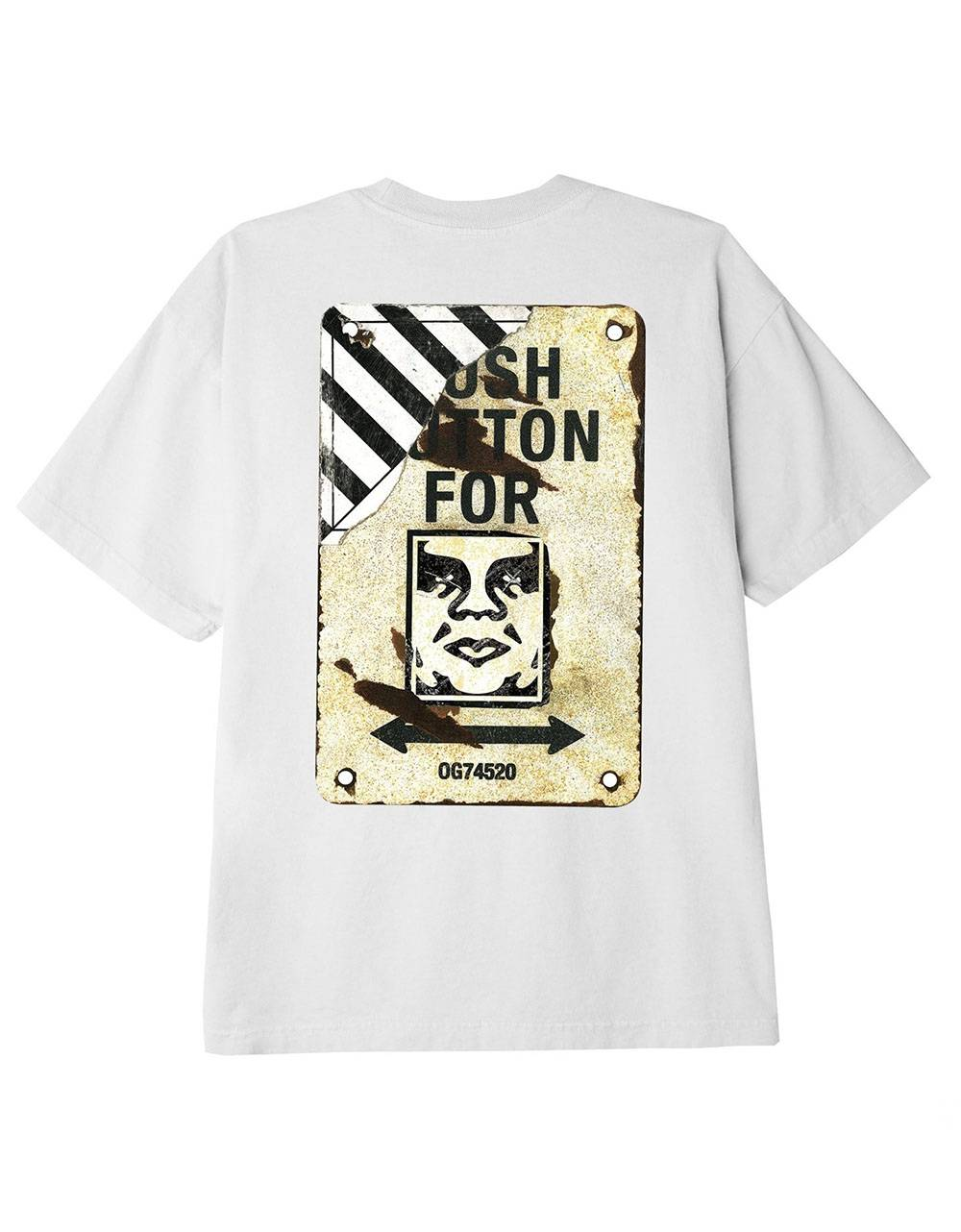 Obey Crosswalk sign classic t-shirt - white obey T-shirt 45,00€