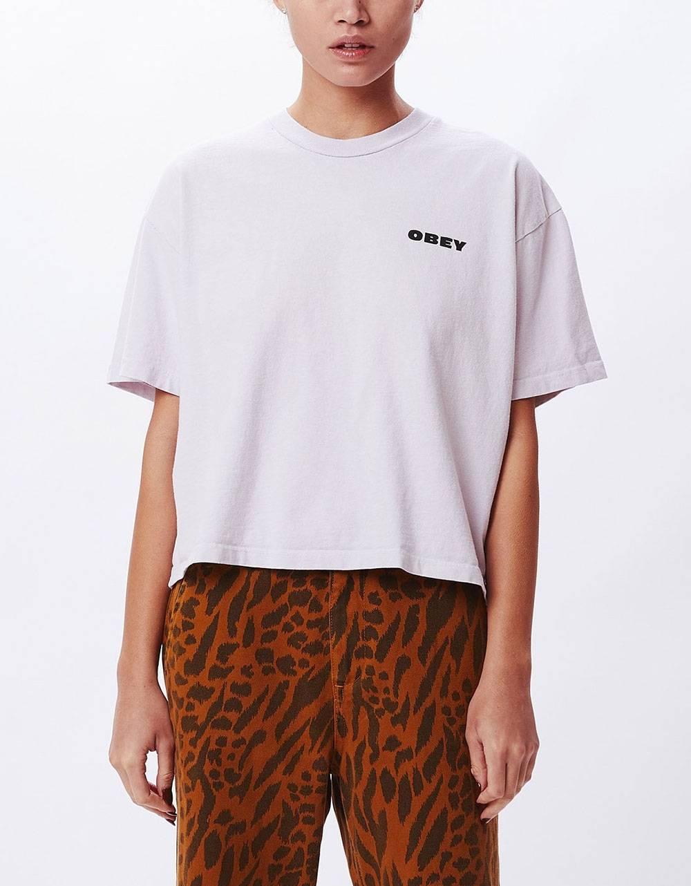 Obey Woman demolition crew custom crop tee - lilac hint obey T-shirt 45,00€
