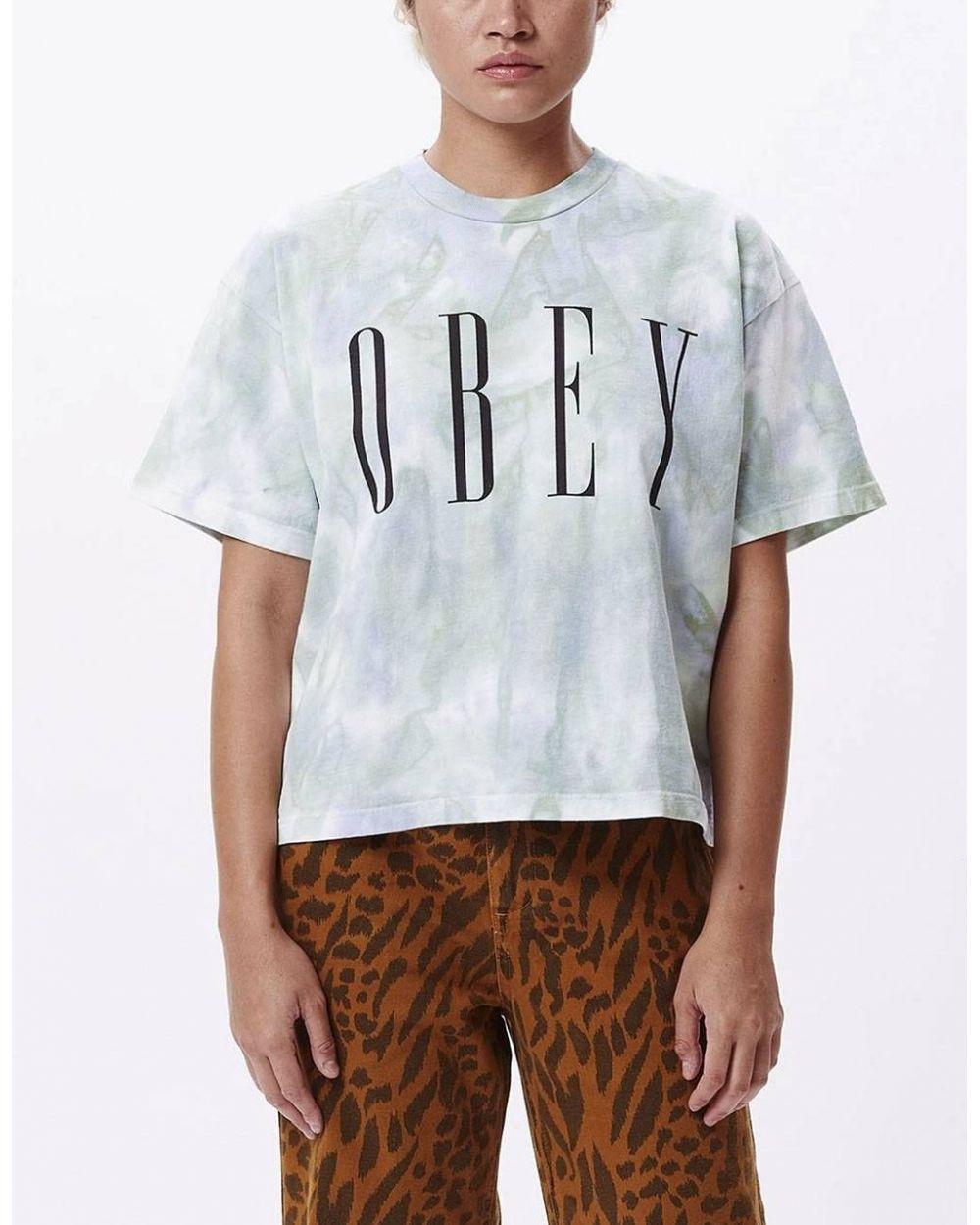 Obey Woman new tie dye custom crop tee - purple half spiral obey T-shirt 55,00€