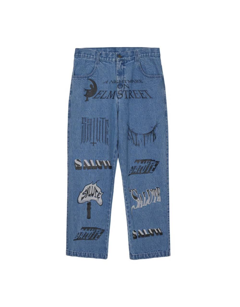 Salute HK Logo printed jeans - light washed blue Salute HK Jeans 186,00€