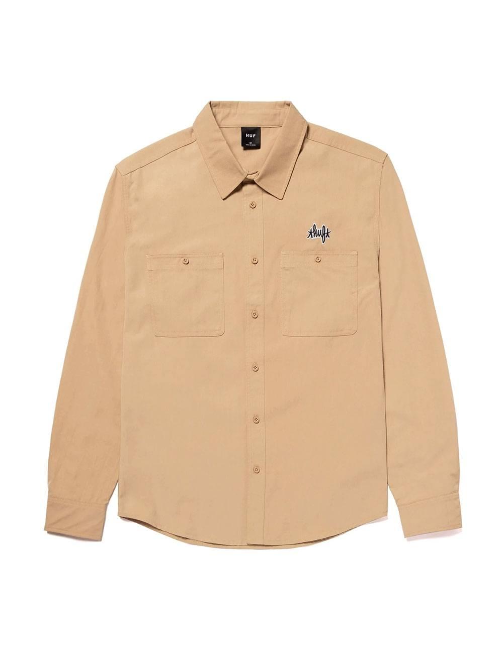 Huf Mechanical l/s shirt - khaki Huf Shirt 122,00€