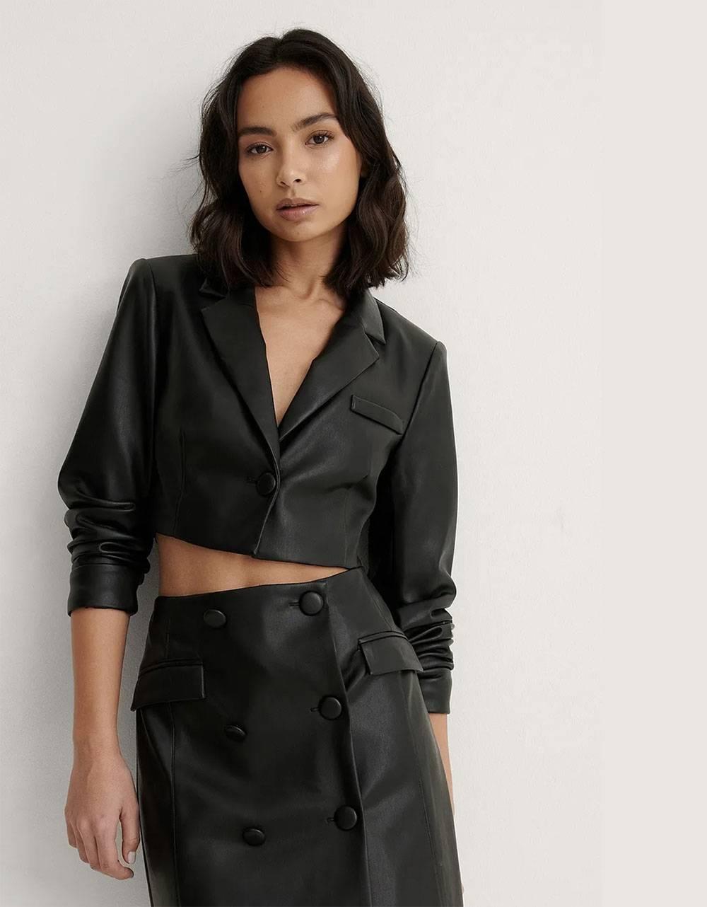 NA-KD cropped pu blazer - black NA-KD Jacket 69,00€