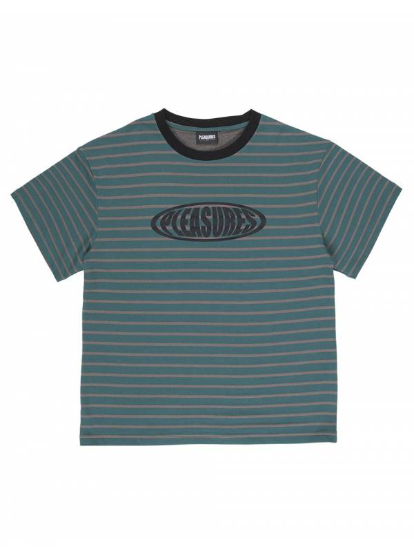 Pleasures Sports striped heavy t-shirt - green Pleasures T-shirt 75,00€